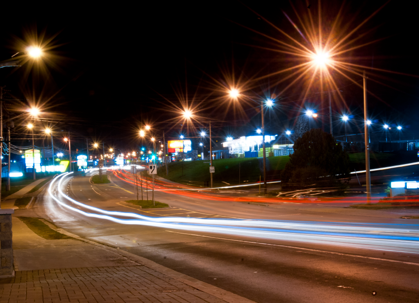 Sackville Drive at night, with light trails created by vehicles